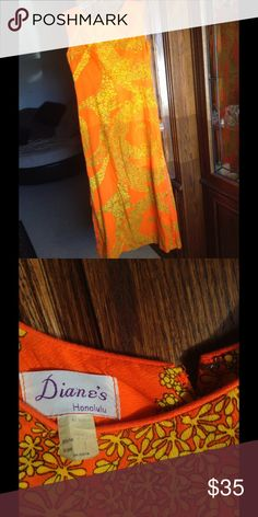 Chic Floral Midi Dress Rare find from Diane's of Honolulu orange and yellow floral sleeveless sheath dress. Zipper back in excellent used condition Diane's of Honolulu Dresses