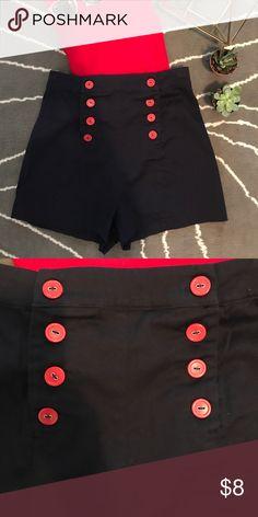 Forever 21 High Waisted Shorts NWOT navy blue high waisted shorts with red Button detailing. Shorts