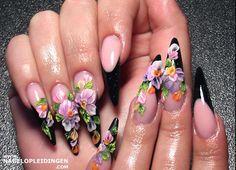 Black, nail art,3D flower, acrylic nails