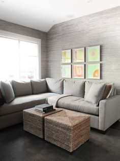 Grey grasscloth Wallpaper would be great in an office