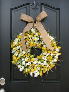 Tulip Wreath - Yellow and White Tulips With Burlap Bow