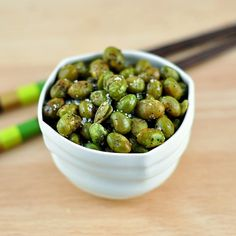 These roasted edamame are completely and utterly addictive, which is trouble if guests are coming in an hour and you can't stop nibbling on them. They're crunchy on the outside and chewy in the middle. The sweet flavor of the edamame is balanced by sea salt and freshly-cracked black pepper. You might want to make a double batch.