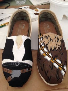 Hey, I found this really awesome Etsy listing at https://www.etsy.com/listing/184310489/hans-solo-and-chewy-hand-painted-toms