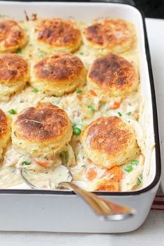 Chicken and Biscuits Pot Pie  http://recipesjust4u.com/chicken-and-biscuits-pot-pie/