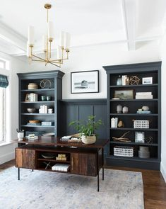 If you choose to make a home office, don't forget to put a lot of thought and details into the design. The idea is a home office that will provide home comfort with workplace functionality. Home Office Space, Home Office Design, Home Office Decor, House Design, Office Designs, Home Office Lighting, Office Setup, Study Office, Navy Office