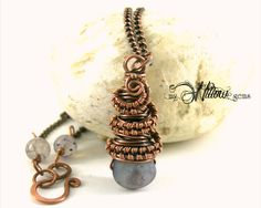 Copper Wire Wrapped Amethyst Agate mini Geode Drop Necklace by MyWillowGems on Etsy Available at www.MyWillowGems.etsy.com #wirewrappedjewelry #handmadejewelry #wirewrap #necklace