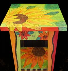 We could totally make your small table look like this over the summer or winter break. Art Furniture, Funky Furniture, Colorful Furniture, Furniture Projects, Furniture Makeover, Painting Furniture, Garden Furniture, Painted Picnic Tables, Painted End Tables