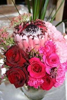 NSE Creation - King Protea's are amazing! Pink Ombre wedding bouquet.
