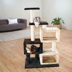 This bartolo cat tree has three plush condos, two lying platforms, and multiple scratching posts. Felines can sharpen their claws on any one of four sisal wrapped scratching posts instead of your furn