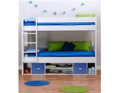 Last Year's Stompa UNO Detachable Storage Bunk Bed with Blue Doors and 2 Free Mattresses. Please click on the picture to order this direct from our website and view full product details. If you require further information please contact us on 01943 608775 Monday - Friday 8:30 am - 5:00 pm.