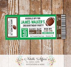 Football Tailgate Birthday Party Football Ticket Invitation - Green Dark Brown Football Invite- choose 2 colors - All Star Birthday Ticket by NotableAffairs