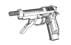 Full Size Beretta 93R Machine Pistol Free Paper Model Download