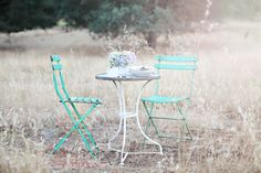 A Pair of Vintage French Green Bistro Chairs ~ Dreamy Whites
