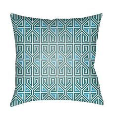 Lolita Poppy Teal and Aqua 26 x 26 In. Pillow with Poly Fill