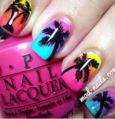 Ombre palm tree nails