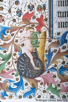 Male figure, nude, carrying lance and foliate shield, rides snail   Book of Hours   France, Provence    ca. 1440-1450   The Morgan Library & Museum