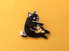 Black Pizza Cat enamel pin cute cat pin hard by OhPlesiosaur