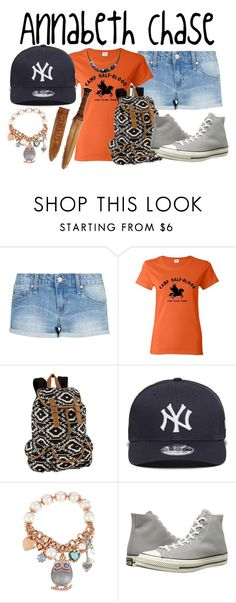 """""""Annabeth Chase"""" by aquatic-angel ❤ liked on Polyvore featuring MANGO, New Era, Betsey Johnson and Converse"""