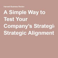 A Simple Way to Test Your Company's Strategic Alignment