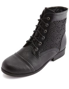 Crochet Lace-Up Ankle Combat Bootie: Charlotte Russe