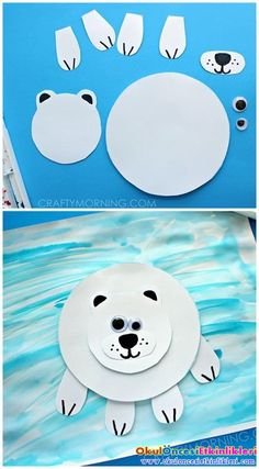 Polar animal crafts paper polar bear on ice craft for kids winter art project crafty morning Kids Crafts, Daycare Crafts, Winter Crafts For Kids, Classroom Crafts, Winter Kids, Art For Kids, Preschool Winter, Winter Crafts For Preschoolers, Clay Crafts