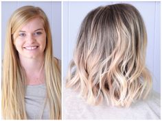 Before and after, long blonde hair to short lob balayage!