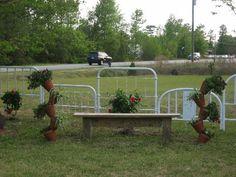 Metal headboard fence.