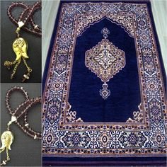 PURPLE islamic prayer rug+Worry Beads - Mat Namaz Salat Musallah islamic Gift