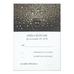 Mason Jar Fireflies Rustic Wedding RSVP Card