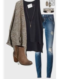 12 best winter college outfits to try now - College Style: Fashion Essentials & Outfits - Modetrends Mode Outfits, Casual Outfits, Fashion Outfits, Womens Fashion, Dress Casual, Fashion Heels, Cardigan Outfits, Men's Outfits, Black Outfits