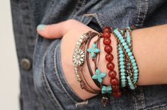 stacked leather bracelets tutorials  (with link to sliding knot clasp tutorial)