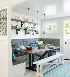 We love this rustic-inspired breakfast banquette with built in seating and a moveable bench. Check out our other breakfast room banquette ideas to add a homey and welcoming feeling to your kitchen. Kitchen Table With Storage, Kitchen Corner Bench, Kitchen Booths, Kitchen Ikea, Window Seat Kitchen, Kitchen Benches, Corner Banquette, Corner Nook, Corner Table