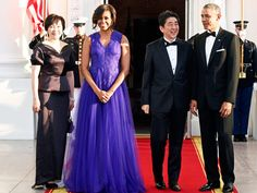 Michelle Obama in purple gown at White House State Dinner