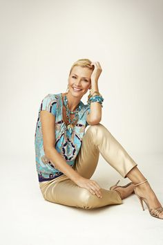 We're loving these statement-making gold pants paired with a scarf print.  #chicos    www.chicos.com