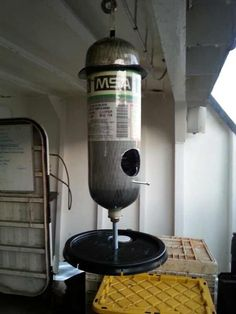 Recycling/reusing a old #firefighter MSA bottle into something useful: a bird feeder. #DIY #birdfeeder
