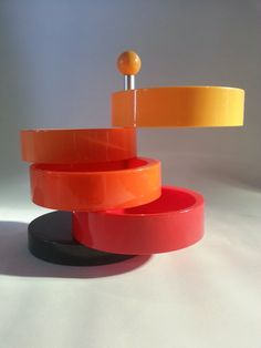 Vintage Mid Century Multi Colour Plastic Snack Tray / Adjustable Party etagere Emsa W. Germany..