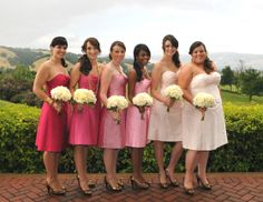 Aria bridesmaid dresses in various pink silk shantung.  progressive shades