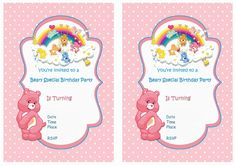 Care Bears FREE Printable Birthday Party Invitations