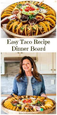 For summer hosting, enjoy this Easy Taco Recipe Dinner Board for a large gathering. Make crunchy tacos with turkey, beef, chicken, or pork! Plateau Charcuterie, Charcuterie And Cheese Board, Charcuterie Platter, Cheese Boards, Comida Picnic, Appetizer Recipes, Dinner Recipes, Taco Appetizers, Dinner Ideas