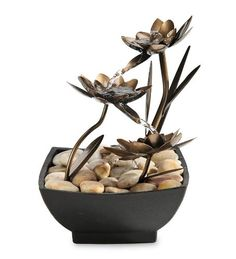 Lotus Flower Metal Fountain * Click on the image for additional details. (This is an affiliate link) #IndoorFountainsandAccessories