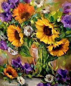"""Moonglow Sunflowers by Floral Artist Nancy Medina"" - Original Fine Art for Sale - © Nancy Medina"