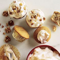 Walnut Cupcakes with Maple Frosting | CookingLight.com