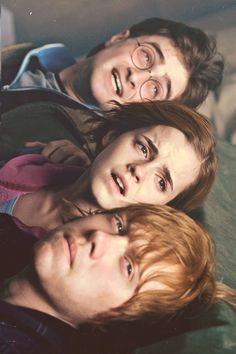 Harry's like, Merlin's beard it's voldly! Hermione is like: what spell should I use next? Ron's like: yeeeeahh hermione kissed me… WHAT NOW?!