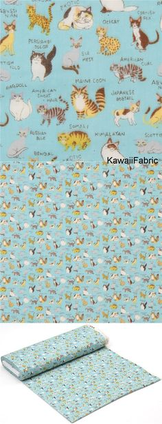 blue Kokka double gauze cute cat animal with name fabric from Japan - Kawaii Fabric Shop Michael Miller, Kawaii, Textiles, Fabric Shop, Double Gauze Fabric, Siamese Cats, Vintage Patterns, Bunt, Couture
