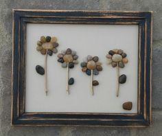 "Pebble Art (Four Rustic Flowers All In A Row) set in a reclaimed 8 1/2 x 11 ""open"" wood frame"