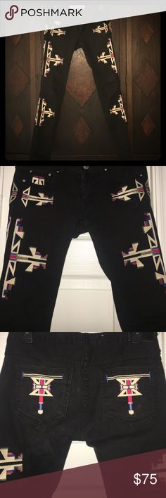Isabel MARANT NATIVE AMER. EMBROIDERED AZTEC JEANS GORGEOUS TOO 😎 COOL! POPULAR STYLE JEANS!! These ARE NOT ISABEL MARANT BUT EXACT STYLE. Couple of the belt loops are un-SEWN HAVE BEEN REMOVED FOR BETTER LOOK. THESE ARE NOTTTT AUTHENTIC ISABEL MARANT AS ALLL ALLLL OF MY OTHER ISABEL MARANT COLLECTIONS,,, which I 💯 percent guarantee!!  Only replicas I purchase are handbags!! Lol!! Isabel Marant Jeans Skinny