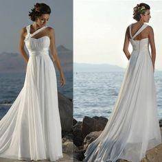 A-line Flowers One Shoulder Chiffon Bridal Gown Pleated Empire Waist Beach Wedding Dress W239