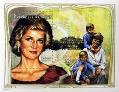 """Princess Diana """"Family Portrait"""" Commemorative Postage Stamp Sheet Issued by Niger, Diana - Princess of Wales 1961 - 1997."""