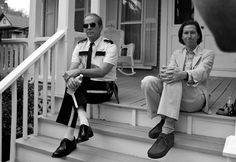 Bruce Willis and Wes Anderson on the set of Moonrise Kingdom