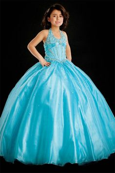 Ball Gown Halter Beading Tulle Baby Blue Satin Girl Pageant Dress
